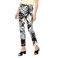 Principles - Black and white palm leaf print regular fit cropped trousers