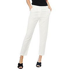 Principles - Ivory linen blend cropped trousers