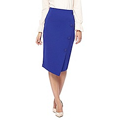 Principles - Blue asymmetric button applique skirt