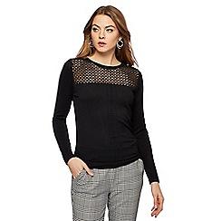 Principles - Black geometric lace jumper