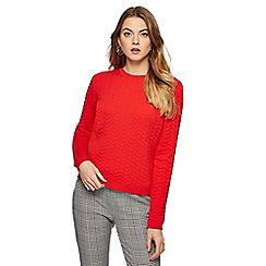 Principles - Red chevron textured jumper