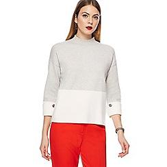 Principles - Grey high neck button sleeve jumper