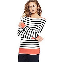 Principles - Ivory striped pleat neck jumper