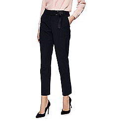 Principles Petite - Black tapered D ring belted trousers
