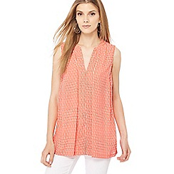 Principles - Red mini spot print notch neck top