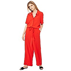 Principles - Red crinkle textured short sleeve jumpsuit