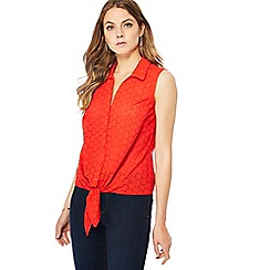 Principles - Red Broderie Anglaise sleeveless shirt