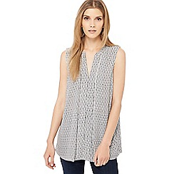 Principles - Ivory mini spot print nock neck top
