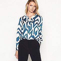 Principles - Dark turquoise geometric print utility shirt
