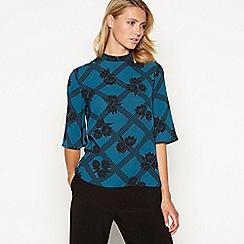 Principles - Dark turquoise floral print top