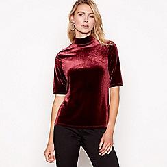 Principles - Dark red velvet high neck short sleeves top
