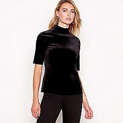 Principles - Black velvet high neck short sleeves top
