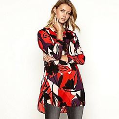 Principles - Wine red floral print chiffon dress shirt