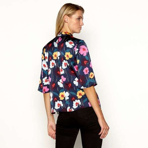 red floral blouse Principles high satin neck Wine print aBw7pv