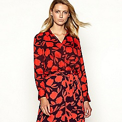 Principles - Red floral print long sleeve shirt