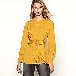 Principles - Gold tie-front longline blouse