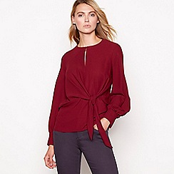 Principles - Wine red tie front chiffon long sleeves top
