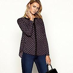 Principles - Plum geometric print chiffon blouse