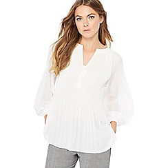 Principles - Ivory pleated Y-neck blouse