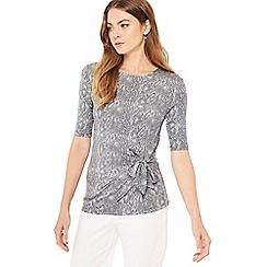 Principles - Grey snake print jersey top