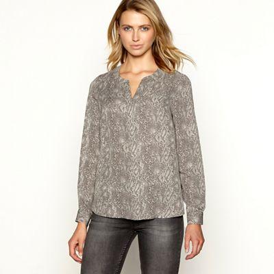 0432b3ab4 Principles Grey snake print chiffon long sleeve shirt