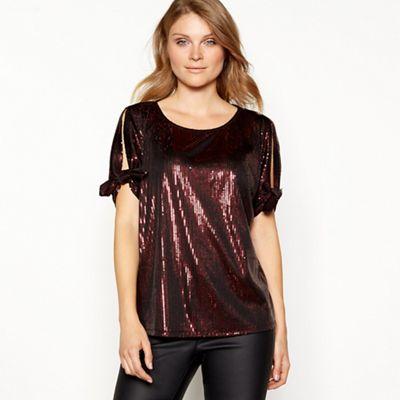 50e4f1271ef4d Principles - Dark red sequin cold shoulder top