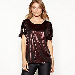 Principles - Dark red sequin cold shoulder top