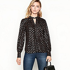 Principles - Black metallic smudge blouse