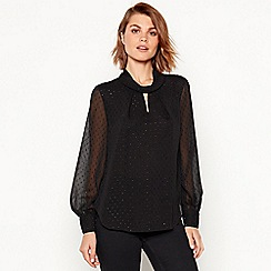 Principles - Black sparkle spot chiffon top