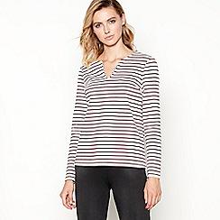 Principles - Dark red striped long sleeve top