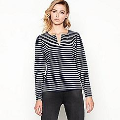 Principles - Navy striped long sleeve top