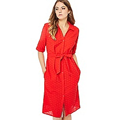 Principles - Red broderie knee length shirt dress