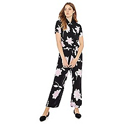Principles - Black floral print short sleeve jumpsuit
