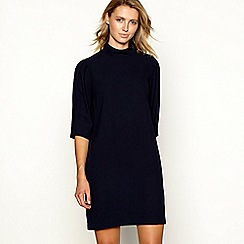 Principles - Navy high neck button shoulder dress