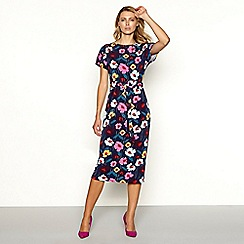 Principles - Wine red floral print short sleeve summer dress