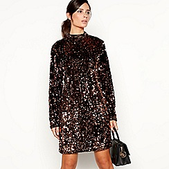 Principles - Bronze sequin mini shift dress