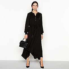 Principles - Black contrast stitch high low dress