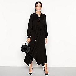 Principles - Black contrast stitch high low dress