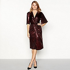 Principles - Dark red sequin V-neck midi dress