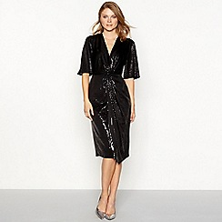 Principles - Black sequin V-neck midi dress