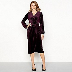 Principles - Purple velvet snaked embossed midi wrap dress