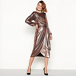 Principles - Bronze foil jersey tie front midi dress