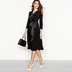 Principles - Black velvet satin knee length wrap dress