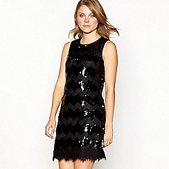 Principles - Black sequin and lace zig zag shift dress