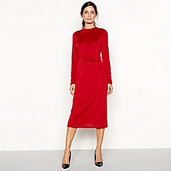 Principles - Red twist front slinky jersey long sleeve midi dress