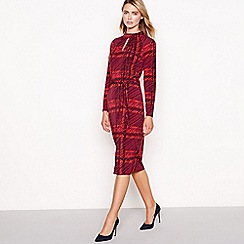 Principles - Red check print jersey high neck knee length dress