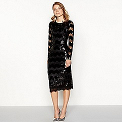 Principles - Black sequin and lace zig zag midi dress