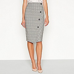 Principles - Black checked print ponte knee length skirt