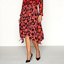 Principles - Red floral print knee length skirt