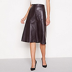 Principles - Dark brown faux leather knee length skirt